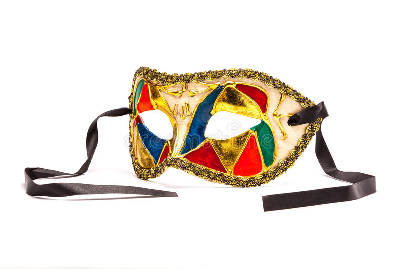 Colorful Mardi Gras Mask on white background with black ribbon ( royalty free stock photos