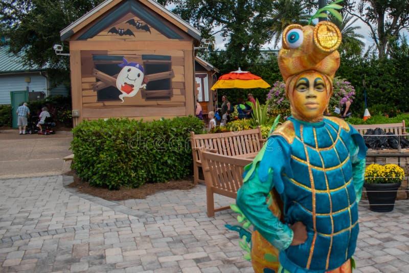 Colorful marine character in Halloween Spooktacular at Seaworld 136. Orlando, Florida. September 21, 2019. Colorful marine character in Halloween Spooktacular stock photo