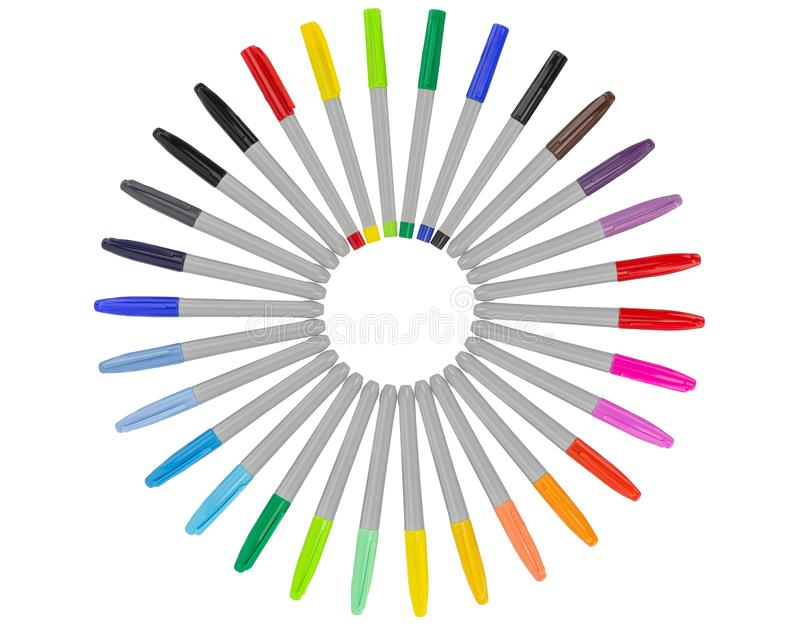 Colorful markers - colored set stock photography