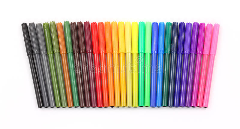 Download Colorful markers in a row stock photo. Image of pink - 19056198