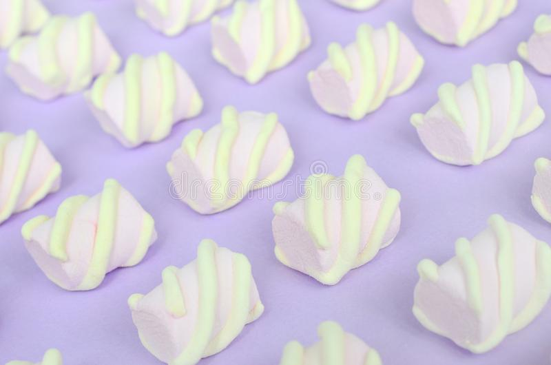 Colorful marshmallow laid out on violet paper background. pastel creative textured pattern. Perspective macro shot stock photography