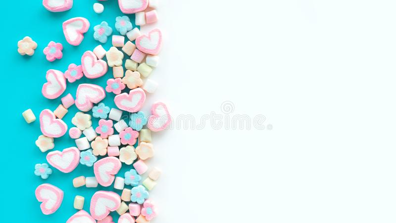 Colorful marshmallow.Party and celebration.decorative background texture.Flat lay stock images