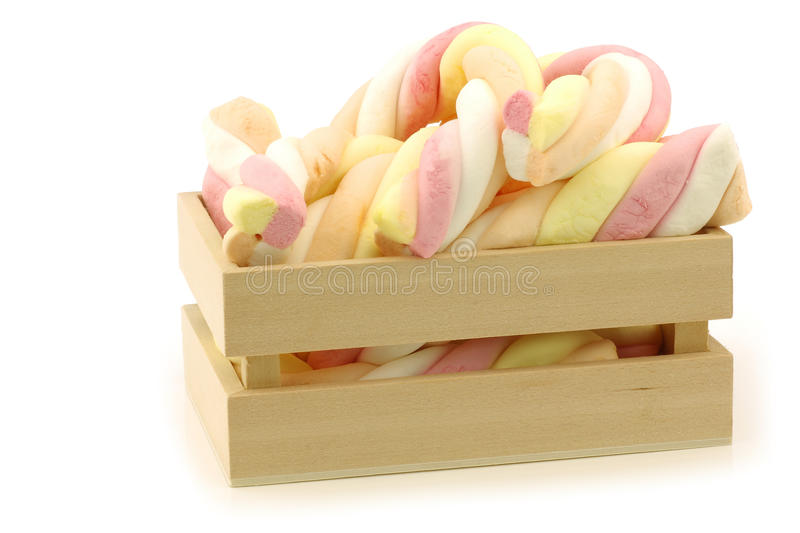 Colorful marshmallow twisted sticks candy royalty free stock image