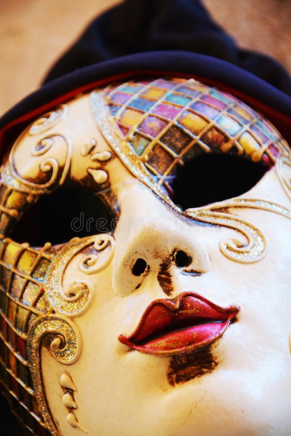 Colorful mask, detail, outdoors, in Venice, Italy stock photo