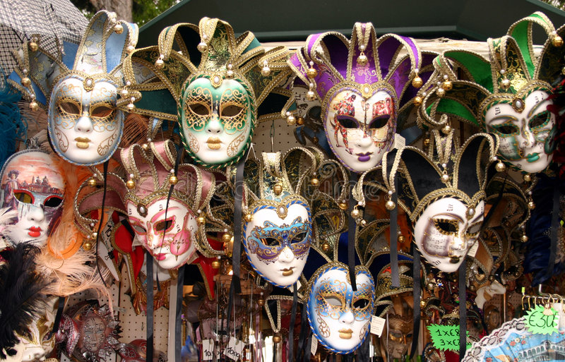 Colorful masks for sale royalty free stock photo