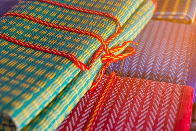 Colorful Mat, Thai traditional handmade. yellow light effect. I royalty free stock photography