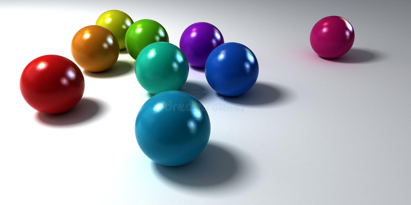 Colorful matt marbles on white background stock illustration
