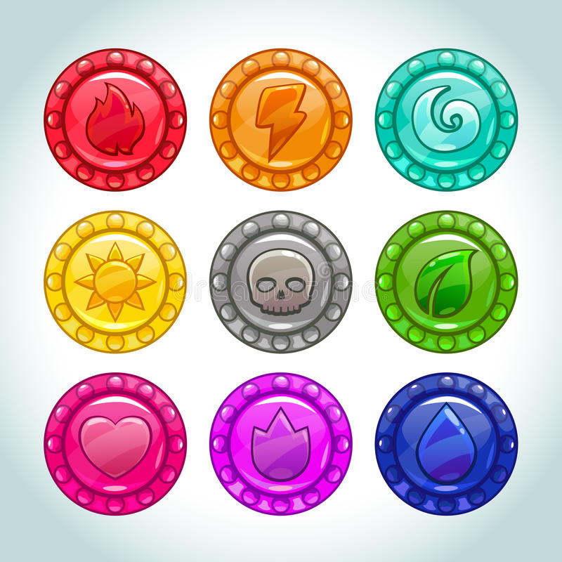 Colorful medallions with nature elements icons stock illustration