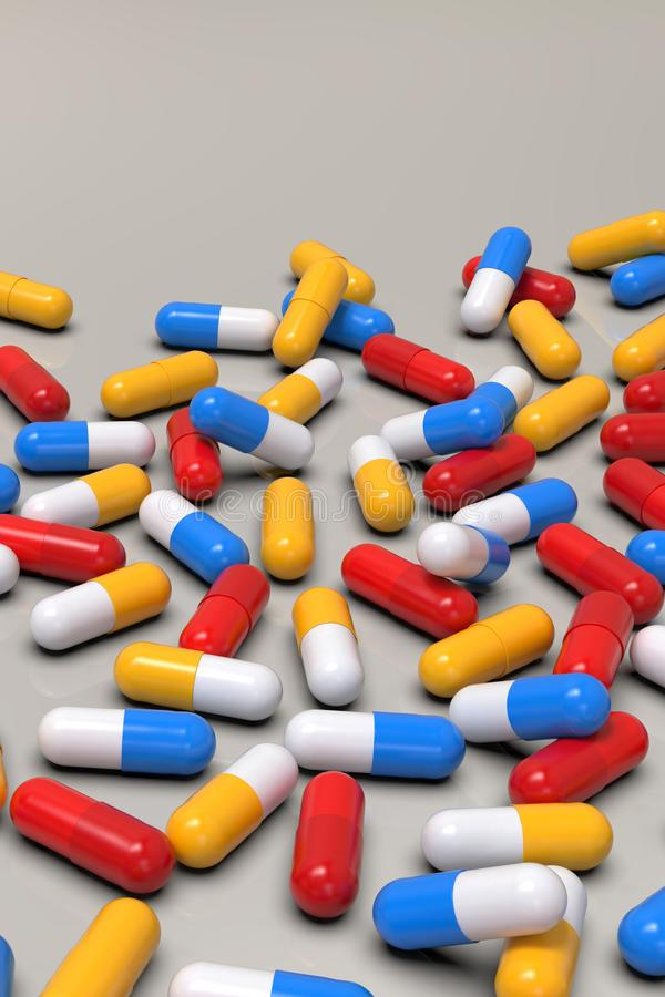 Colorful medicine capsules on light background. Group of various medicine pills capsules randomly positioned. Close-up, very high resolution perspective vector illustration