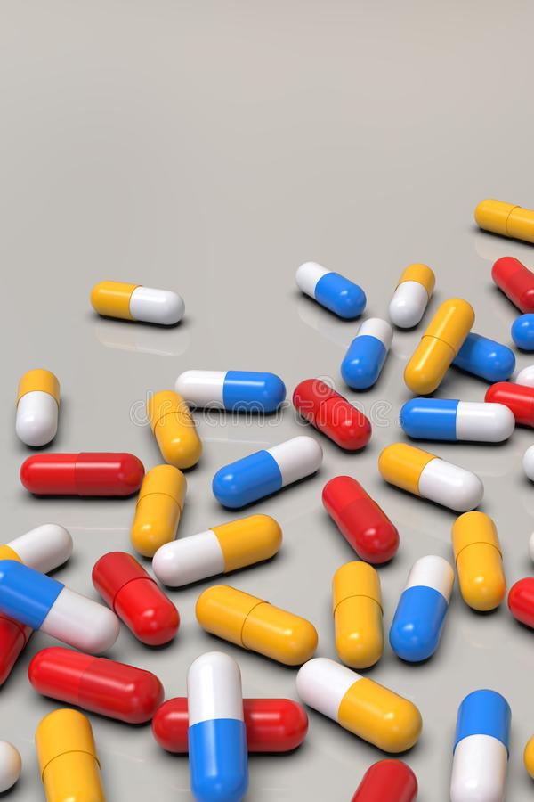 Colorful medicine capsules on light background. Group of various medicine pills capsules randomly positioned. Close-up, very high resolution perspective stock illustration