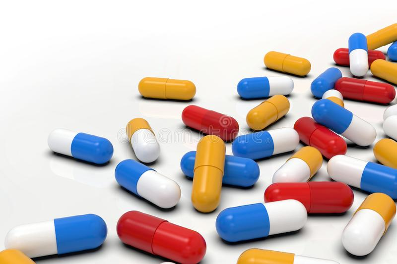 Colorful medicine capsules on light background, macro. Group of various medicine pills capsules randomly positioned. Close-up, very high resolution macro vector illustration