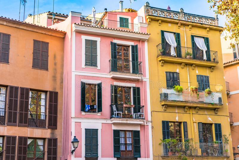 Colorful mediterranean buildings at historic city center of Palma de Majorca, Spain royalty free stock image
