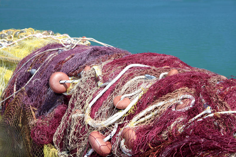 Colorful Mediterranean Fishing Nets stock images