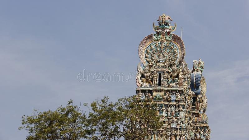 Colorful Of Meenakshi Amman Hindu Temple royalty free stock photo