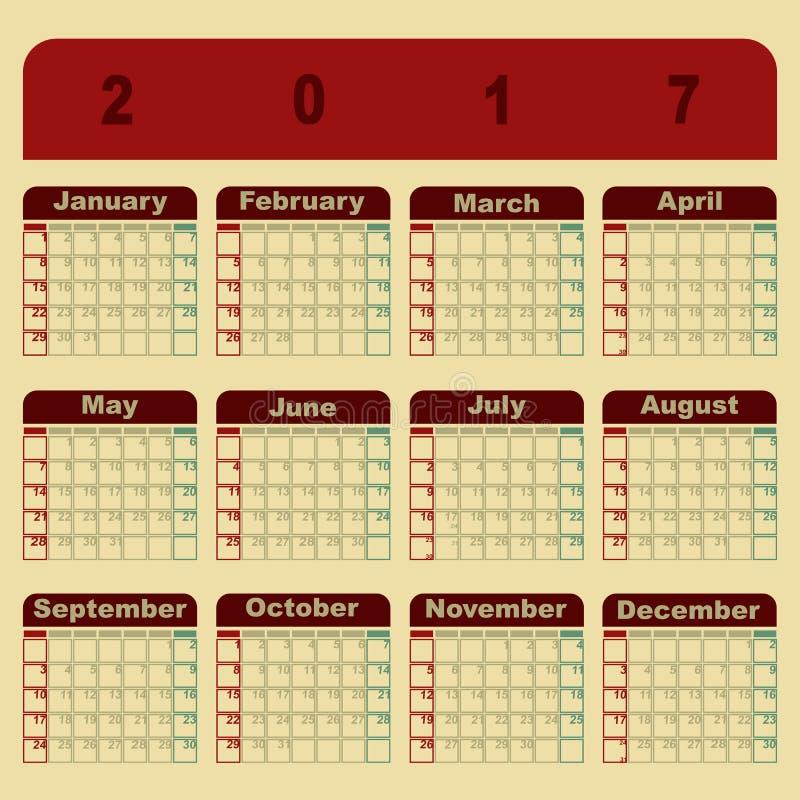 Colorful Memo 2017 Calendar Template Stock Vector Illustration Of