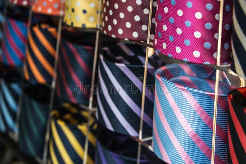 Colorful mens necktie collection in the men`s shop. Close up. Colorful necktie collection in the men`s shop. Close up royalty free stock photography