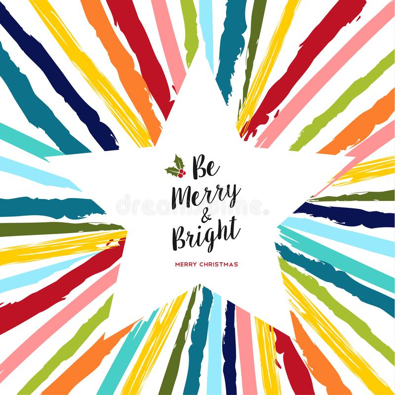 Merry Christmas card of colorful hand drawn star royalty free illustration