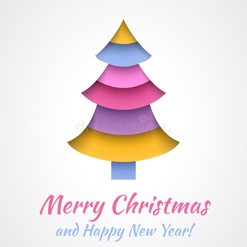 Colorful Merry Christmas greeting card with tree. stock illustration