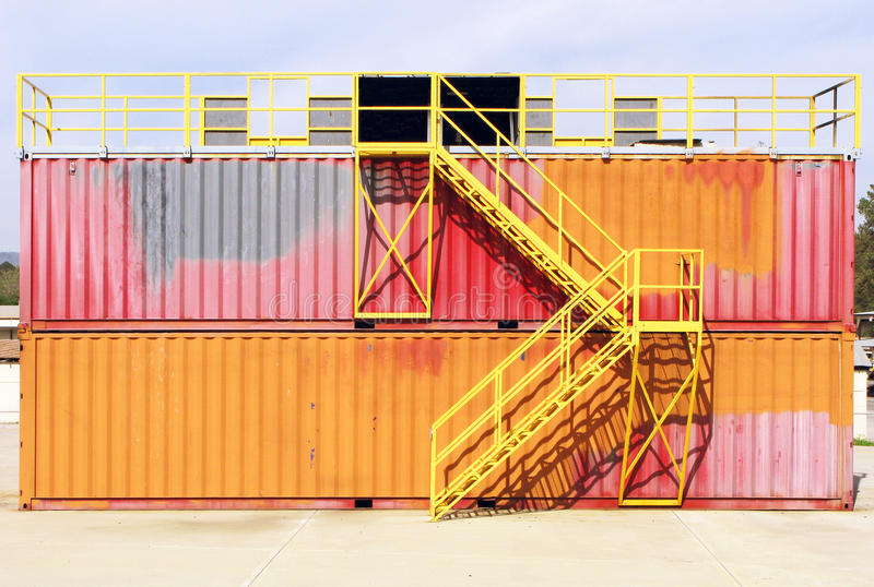 A Colorful Metal Painted Container Structure. royalty free stock photo