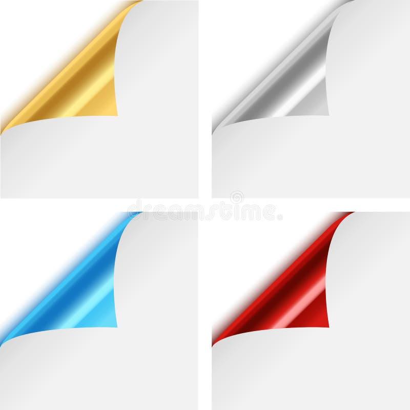 Colorful Metallic Paper Corner Folds vector illustration