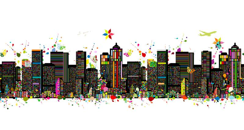 Colorful metropolis, seamless pattern for your design. Vector illustration royalty free illustration