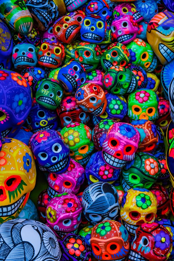 Colorful Mexican Ceramic Skulls Day Dead Handicraft Oaxacas Juarez Mexico. Colorful Mexican Ceramic Skulls Handicrafts Day of the Dead Blue Turquoise Yellow stock photography