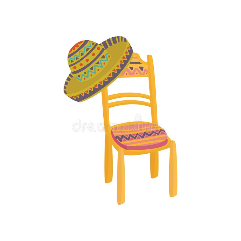 Colorful mexican chair and sombrero hat cartoon vector Illustration. On a white background vector illustration