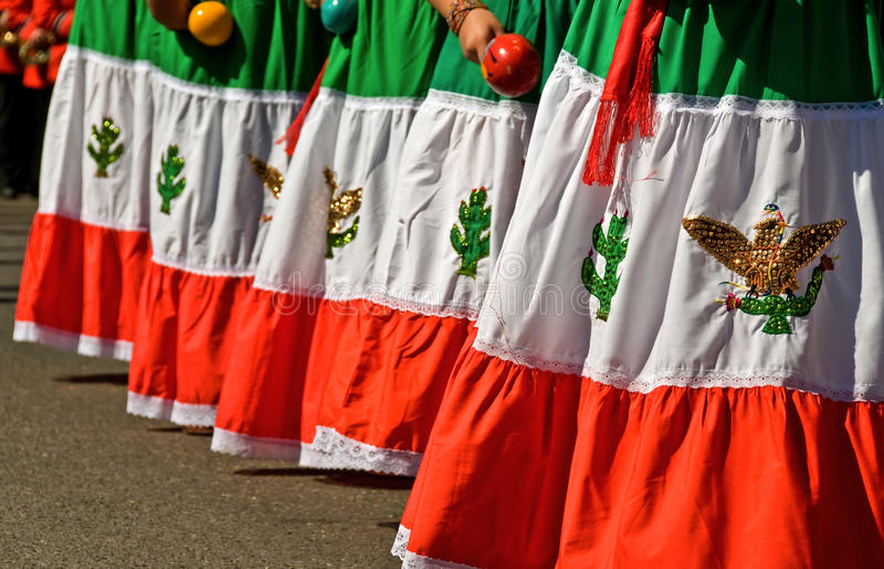 Colorful Mexican dresses royalty free stock photography