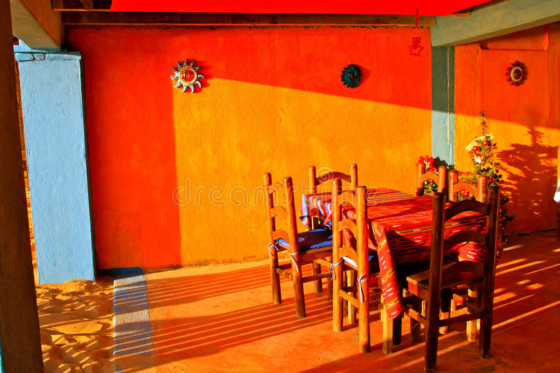 Colorful mexican restaurant stock photo