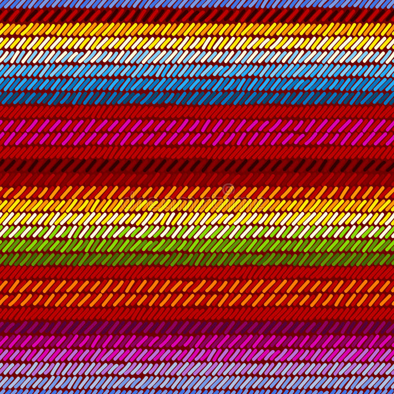 Colorful mexican serape blanket rug woven striped fabric seamless pattern, vector royalty free illustration
