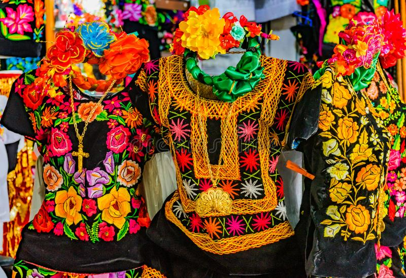Colorful Mexican Shirts Dresse Jewelry Handicrafts Oaxaca Mexico royalty free stock image