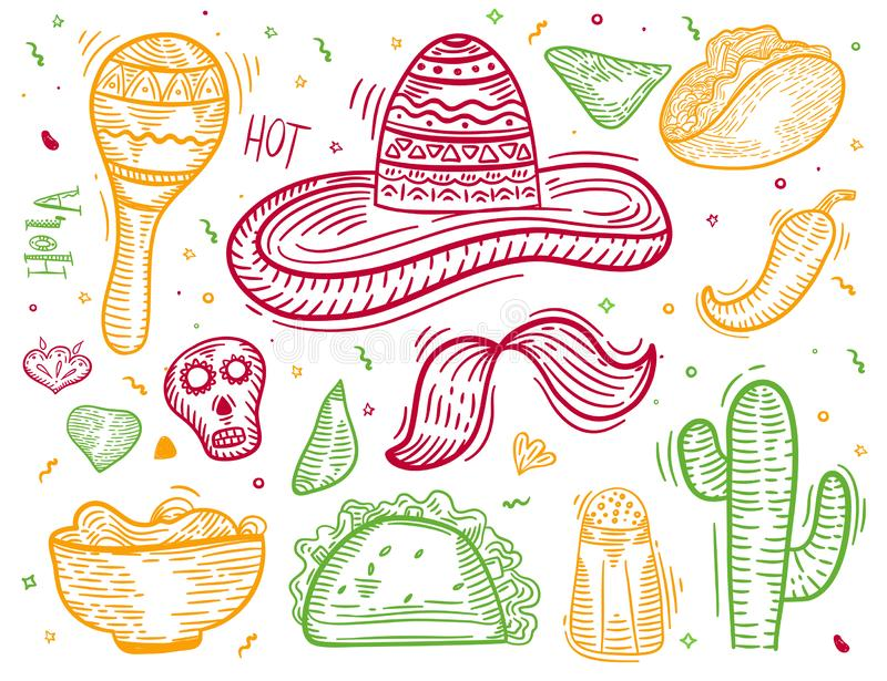 Colorful Mexican sketch engraving style icon set with Chili pepper, sombrero, tacos, nacho, burrito for banners, menu royalty free illustration