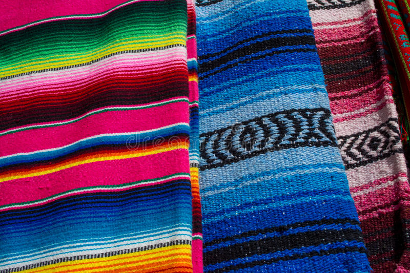 Colorful mexican zarapes royalty free stock images