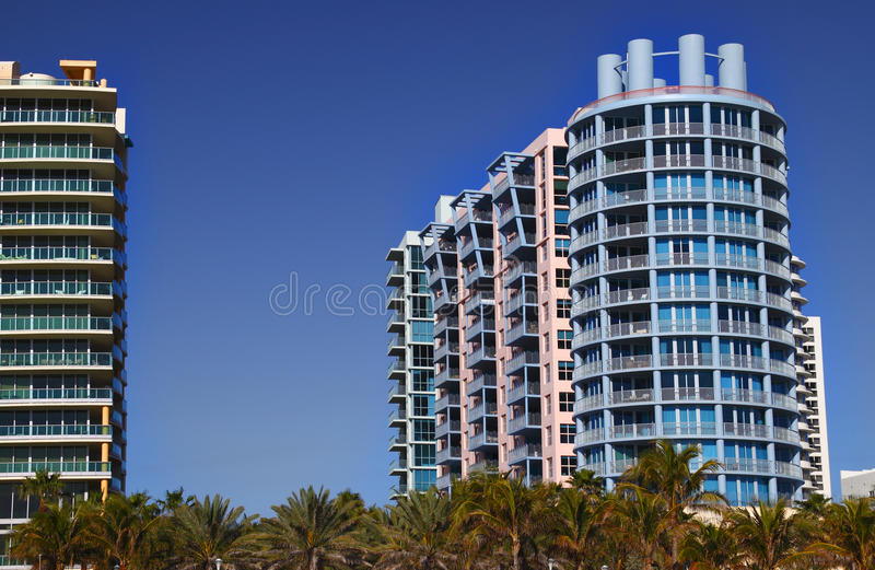 Colorful Miami hotels royalty free stock image