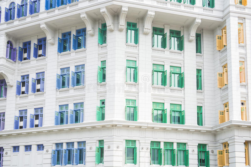 Colorful of MICA building It was known as the Old Hill Street Po. Lice Station in Singapore, landmark stock image
