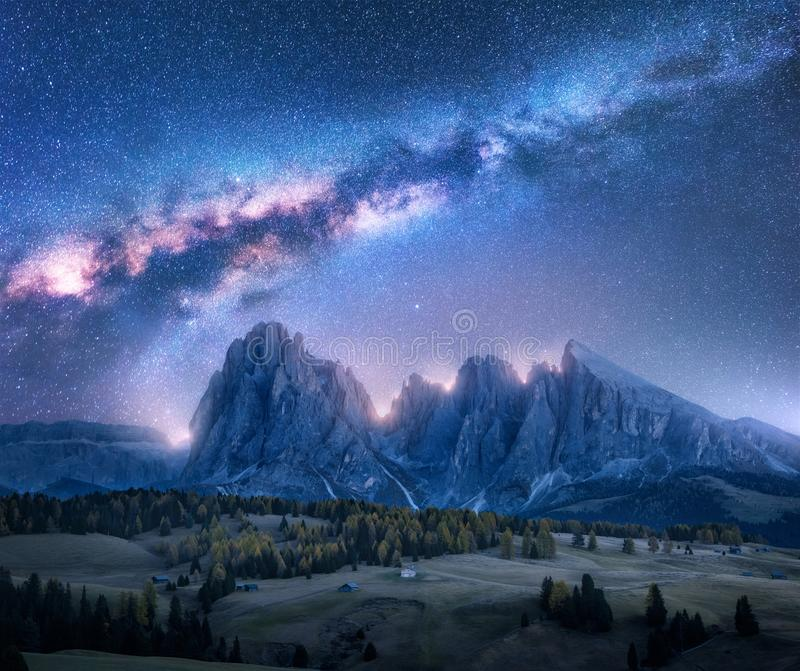 Colorful Milky Way over beautiful mauntains at night stock image