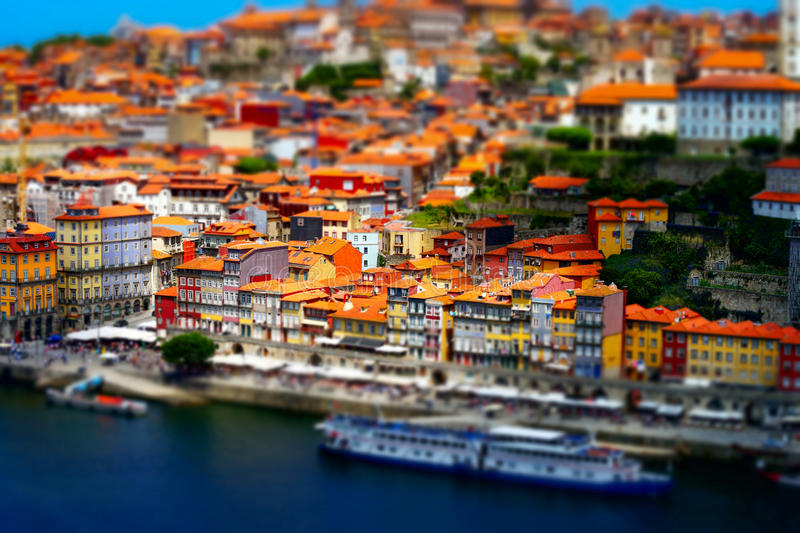 Colorful miniature tilt-shift view of old city center, Porto, Po royalty free stock image