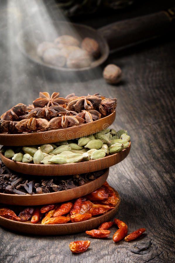 Colorful mix of spices stock photos