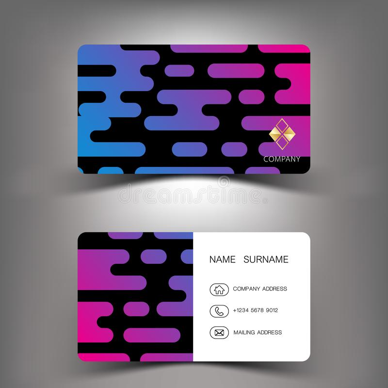 Colorful mixed purple and blue. Business card design. stock illustration