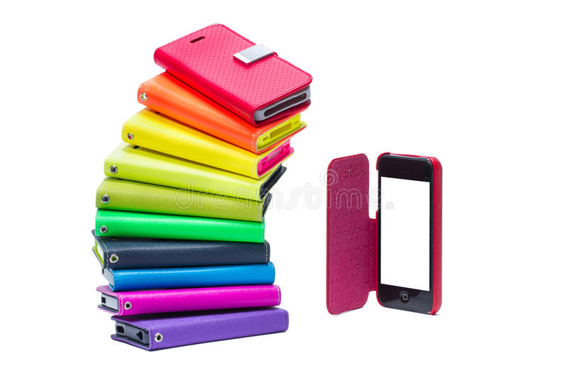 Colorful mobile phone cases stock image