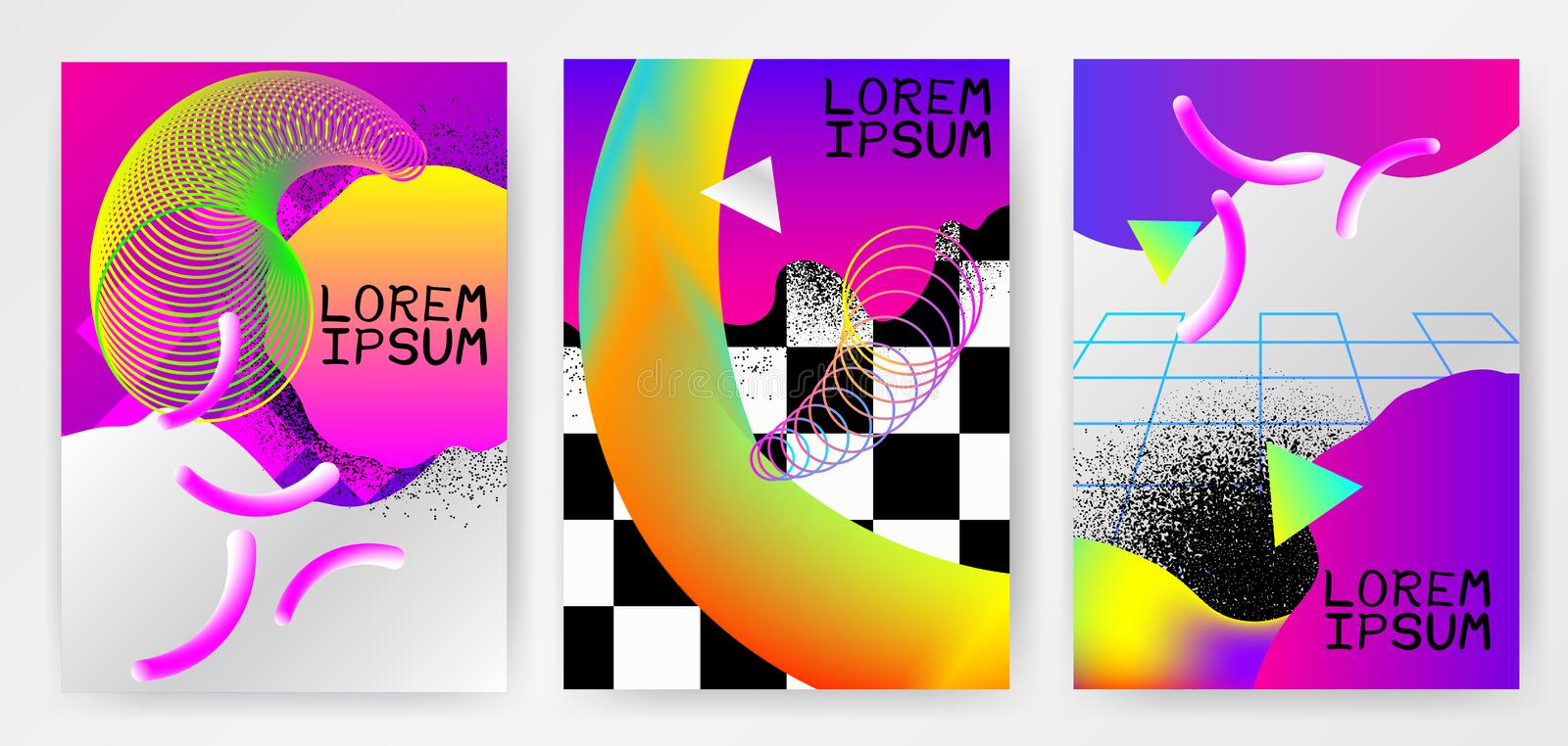 Colorful modern abstract posters, covers, templates with gradients, thin line smoke wave, liquid shape on gray background. vector illustration