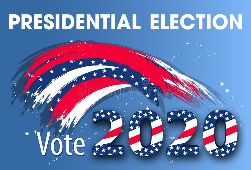 Colorful modern banner for United States of America Presidential Election. Vote 2020 USA dynamic design elements for a flyer, vector illustration