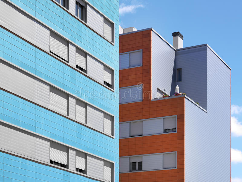 Colorful modern building facade with blue sky. Horizontal stock photo