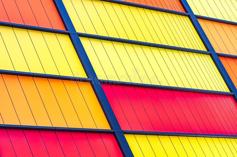 Colorful modern building panel with metal frame stock images