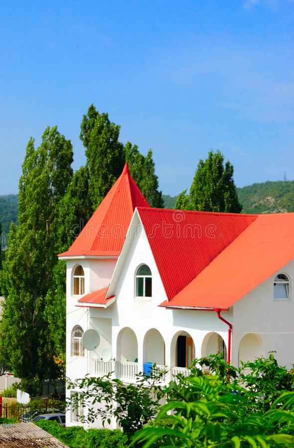 Colorful modern country house royalty free stock photography