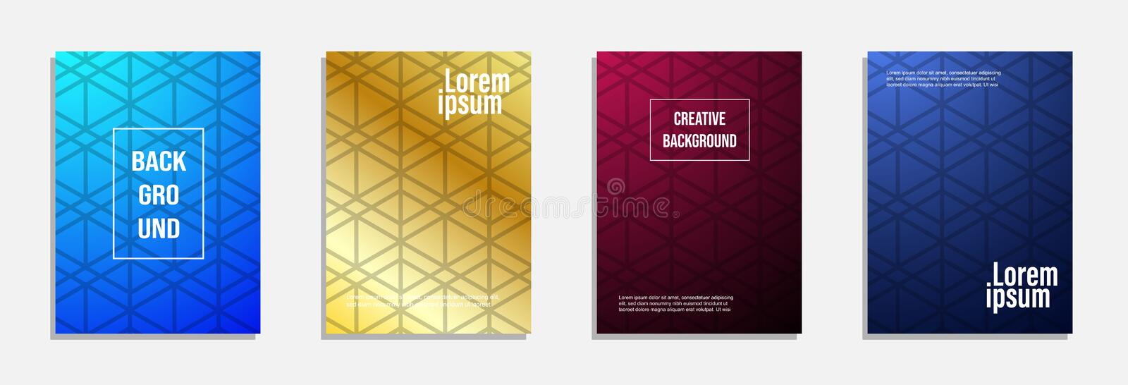 Colorful and modern cover design. Set of geometric pattern background. Design royalty free illustration