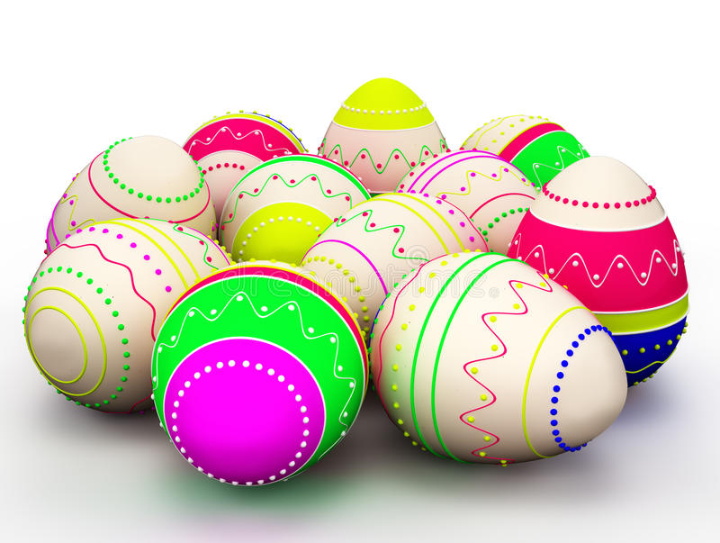 Colorful modern painted Easter eggs. On white background stock illustration