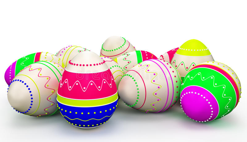 Colorful modern painted Easter eggs. On white background royalty free illustration