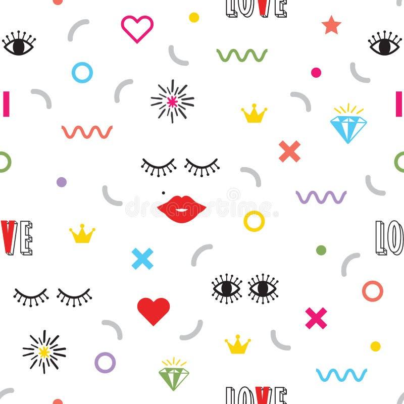 Colorful modern retro feminine fun icons pattern on white. Colorful modern retro feminine fun icons and symbol pattern on white background royalty free illustration