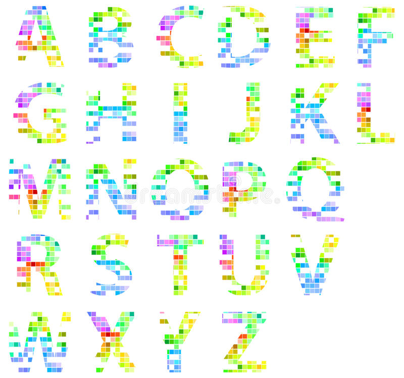 Colorful Modern Square Mosaic Alphabet Letters stock photography